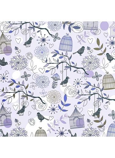 Artikel Kuş ve Kafes Detaylı -3 Dekoratif Yastık Kırlent Kılıfı 45x45 cm Renkli